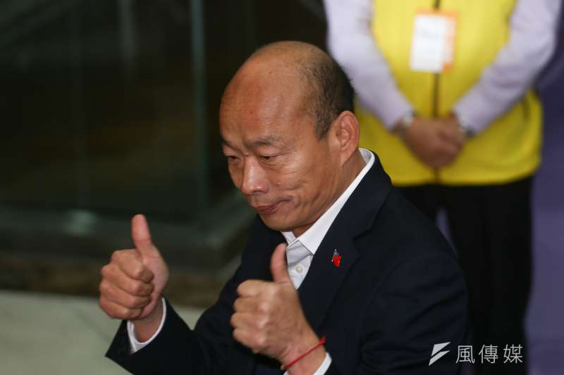 國民黨總統參選人高雄市長韓國瑜在電視辯論會上,痛駡媒體。(陳品佑攝)
