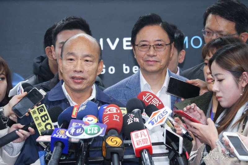 20191227-國民黨正副候選人韓國瑜、張善政參訪HTC,並舉行青年國是論壇,會後接受聯訪。(蔡親傑攝)