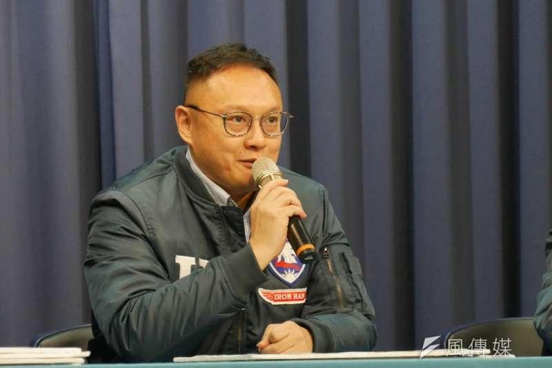 2019年12月28日,國民黨總統候選人韓國瑜陣營發言人鄭照新再批「新潮流綁架蔡英文」(潘維庭攝)