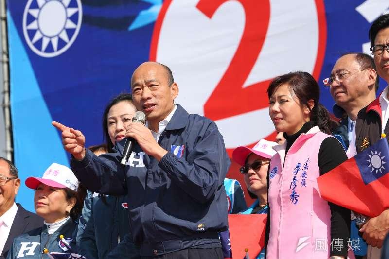 國民黨總統候選人韓國瑜(右四)陣營表示,因黑鷹直升機意外,韓國瑜取消原訂2、3日的公開行程。(資料照,顏麟宇攝)