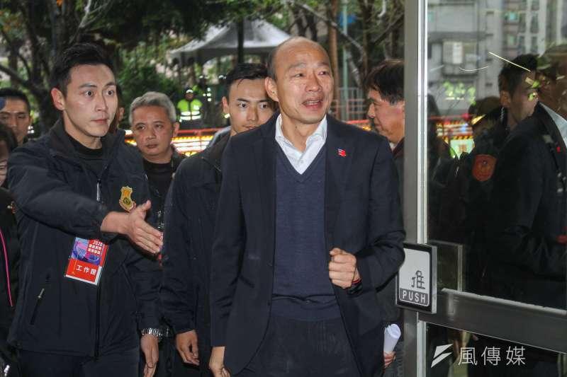 國民黨總統參選人韓國瑜29日出席公視總統候選人電視辯論會。(蔡親傑攝)