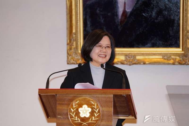 20200101-總統蔡英文於1日在總統府內發表新年談話。(盧逸峰攝)