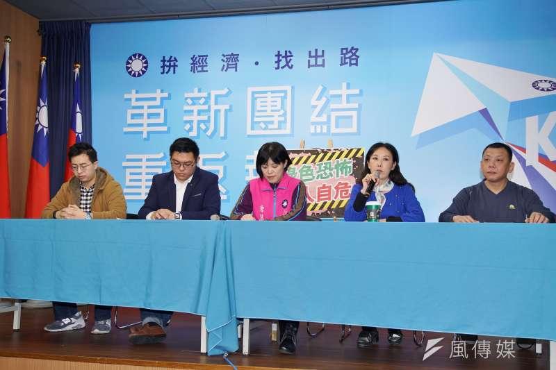 20200102-國民黨2日召開「綠色恐怖 人人自危」記者會,不分區立委候選人牛春茹(右二)發言。(盧逸峰攝)