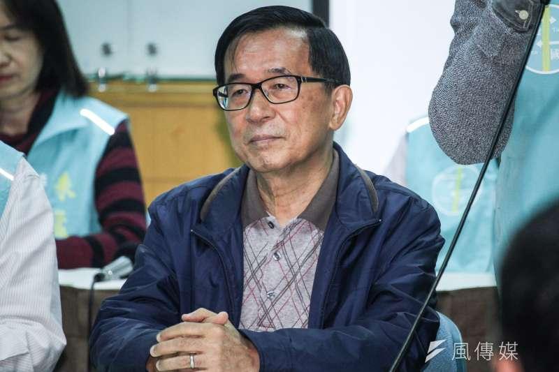前總統陳水扁(見圖)被問到會不會擔心總統大選完之後被關回去時表示,「叫蔡英文總統連任再叫我回籠,阿扁等你。」(蔡親傑攝)