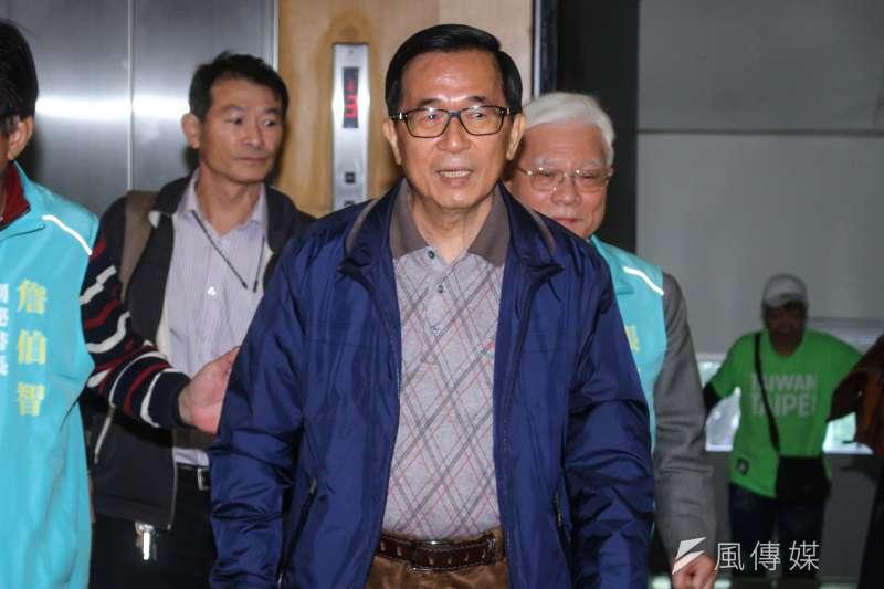 20200103-前總統陳水扁出席一邊一國行動黨「台灣國家與台灣總統命運」影片發佈會。(蔡親傑攝)