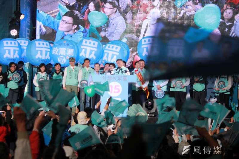 20200104-台灣民眾黨黨主席柯文哲晚間出席民眾黨造勢晚會,替黨內立委候選人站台。(方炳超攝)