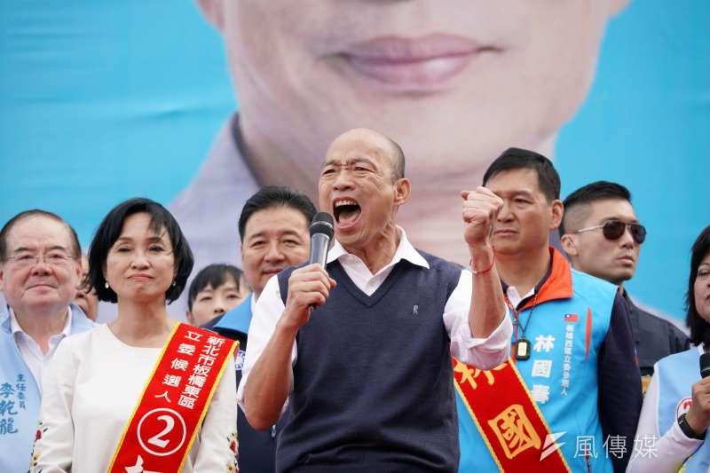 國民黨總統候選人韓國瑜(見圖)企圖複製2018年九合一大選勝選模式,對此「宅神」朱學恒表示,韓國瑜陣營目前的努力還不夠。(盧逸峰攝)