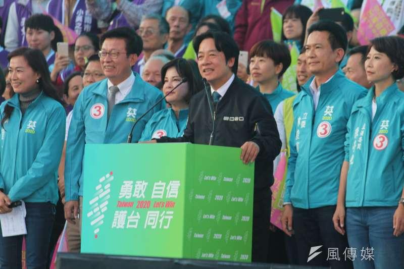 20200105-民進黨5日在台南舉辦「台南拚第一、台灣全勝利」造勢大會。副總統候選人賴清德致詞。(黃信維攝)