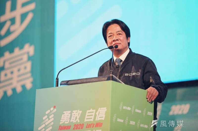 民進黨於5日晚間在新莊舉辦造勢活動,民進黨副總統候選人賴清德(見圖)籲選民用選票守護台灣。(蔡英文競辦提供)