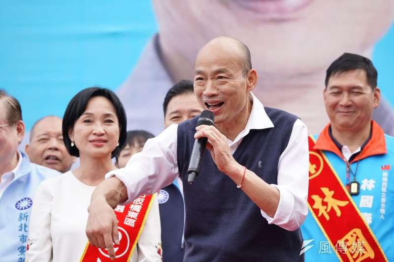 國民黨總統候選人韓國瑜(見圖)說自己因看女生小腿而荒廢學業,遭苦苓批是渣男。(資料照,盧逸峰攝)