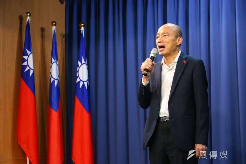 國民黨台北市議員鍾沛君直言,若高雄市長韓國瑜(見圖)參選國民黨主席,反而可能會提高罷免案投票率。(資料照,顏麟宇攝)