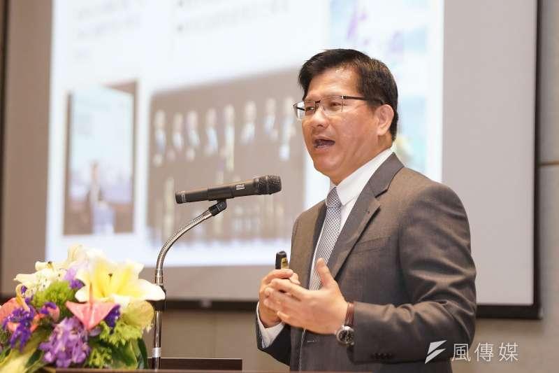 20200107-交通部7日舉行新春記者會,部長林佳龍出席。(盧逸峰攝)