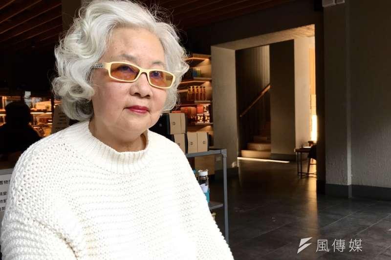 作家柏楊遺孀張香華9日於台北受訪,對於蔡英文在文化政策上打出反中,認為就是政治目的。(吳尚軒攝)