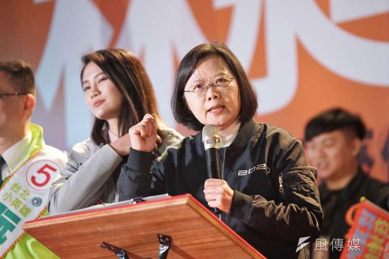 20200109-總統蔡英文9日出席立委林昶佐造勢晚會。(盧逸峰攝)