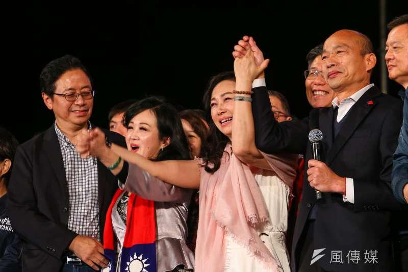 20200109-國民黨總統、副總統候選人韓國瑜、張善政伉儷9日出席「台灣安全,人民有錢,凱道勝利晚會」。(顏麟宇攝)