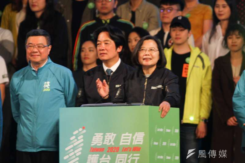 2020年1月10日選前之夜,民進黨凱道造勢晚會,賴清德與蔡英文同台。(蔡親傑攝)