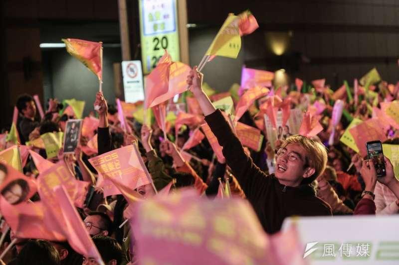 民進黨競選總部開票之夜。(簡必丞攝)