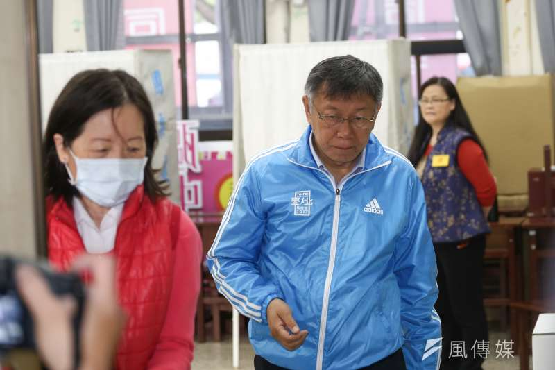 20200111-台北市長柯文哲赴投票所投票。(陳品佑攝)