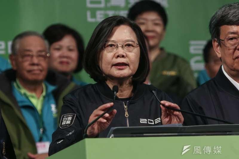 20200111-民進黨黨部開票之夜,總統蔡英文成功連任。(簡必丞攝)