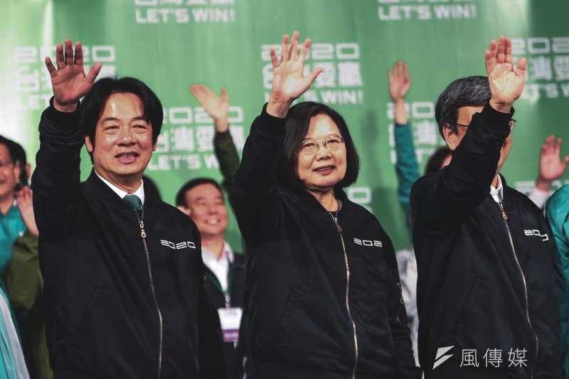 20200111-民進黨部開票之夜,總統蔡英文成功連任,並發表勝選感言。(簡必丞攝)