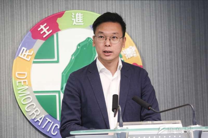 20200115-副秘書長林飛帆15日舉辦民進黨中常會會後記者會。(簡必丞攝)