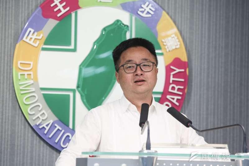20200115-民進黨秘書長羅文嘉15日舉辦民進黨中常會會後記者會。(簡必丞攝)