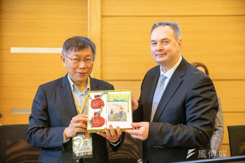 20200117-台北市長柯文哲17日拜會里加市最高行政首長 。(台北市政府提供)