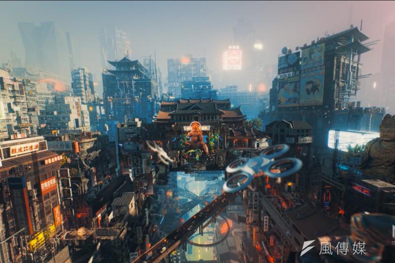 玩家共和國(Republic of Gamers)以電馭叛客(Cyberpunk)風格為基底,融合本土元素,打造出圖特的未來都市。(夢想動畫提供)