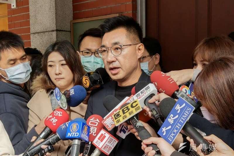 國民黨立院黨團6日上午召開黨團大會,立委江啟臣接受媒體訪問。(潘維庭攝)
