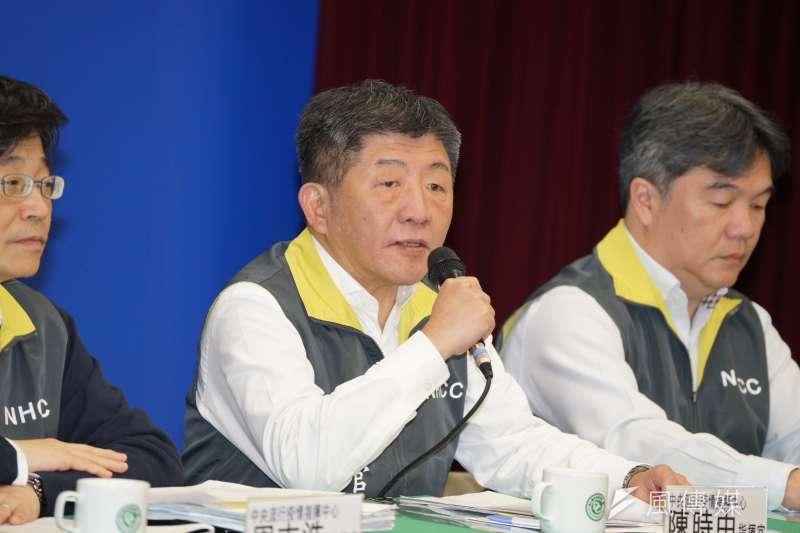 針對武漢肺炎疫情,衛福部長陳時中11日宣布提升港澳、新加坡、泰國旅遊警示。(盧逸峰攝)