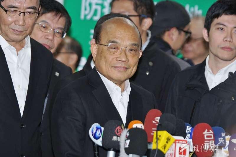 行政院長蘇貞昌 (見圖)認為,台灣確診病例少的現況,是靠防疫團隊齊心努力、在不同崗位上盡忠職守才能獲得的成果。(盧逸峰攝)