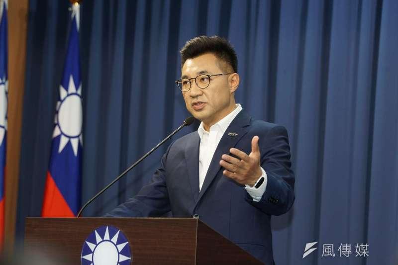 20200212-國民黨12日舉行主席補選政見發表會,江啟臣會後受訪。(盧逸峰攝)