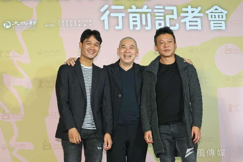 20200213-本片導演蔡明亮(中)、演員李康生(右)、亞儂·弘尚希(左)13日出席《日子》入圍德國柏林影展行前記者會。(顏麟宇攝)