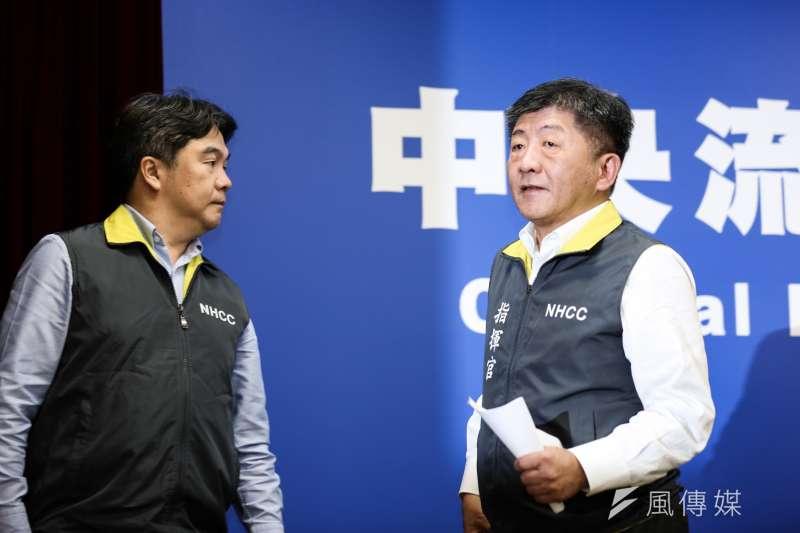 20200214-中央流行疫情指揮中心指揮官陳時中(右)14日召開記者會,說明疫情與防疫作為。(簡必丞攝)