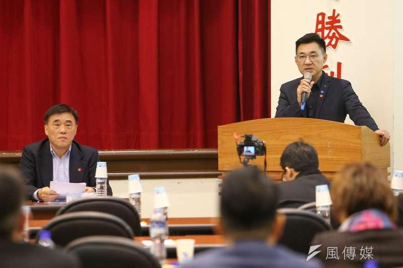 20200220-國民黨主席補選候選人江啟臣、郝龍斌20日出席「立法實務研討會」。(顏麟宇攝)