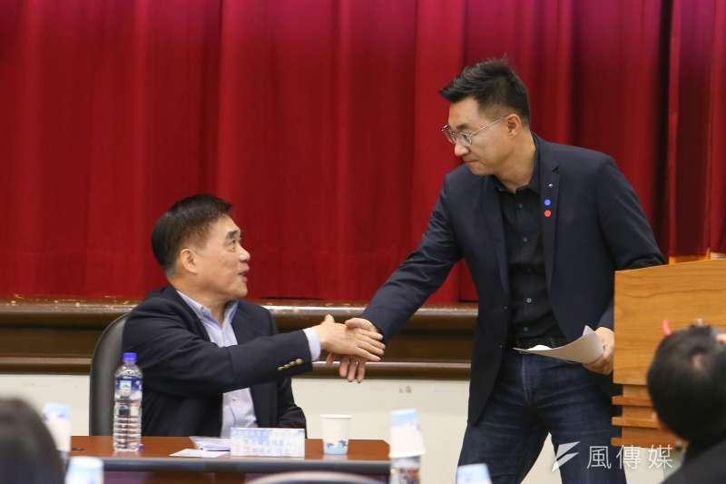 20200220-國民黨主席補選候選人郝龍斌、江啟臣20日出席「立法實務研討會」。(顏麟宇攝)