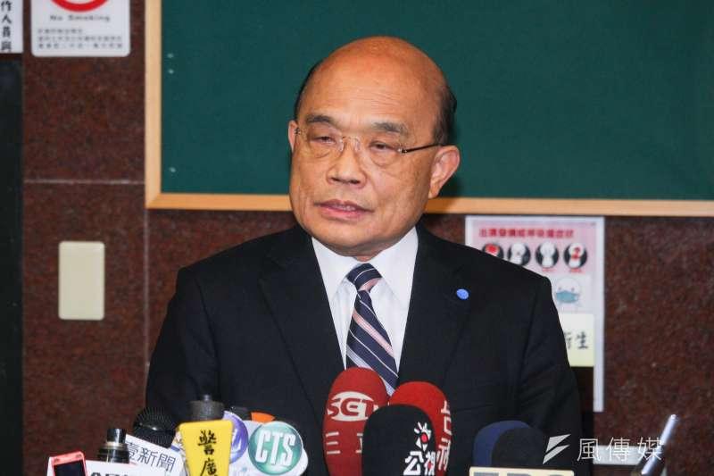 20200220-行政院長蘇貞昌20日拜會立法院民進黨黨團,於會前接受聯訪。(蔡親傑攝)