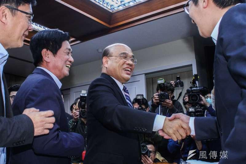 20200220-行政院長蘇貞昌20日拜會立法院民進黨黨團。(蔡親傑攝)