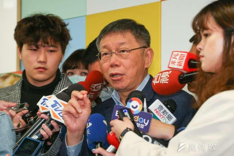 台灣民眾黨主席柯文哲22日出席「台灣民眾黨國家治理學院」活動,受訪時談及武漢肺炎防疫議題。(顏麟宇攝)