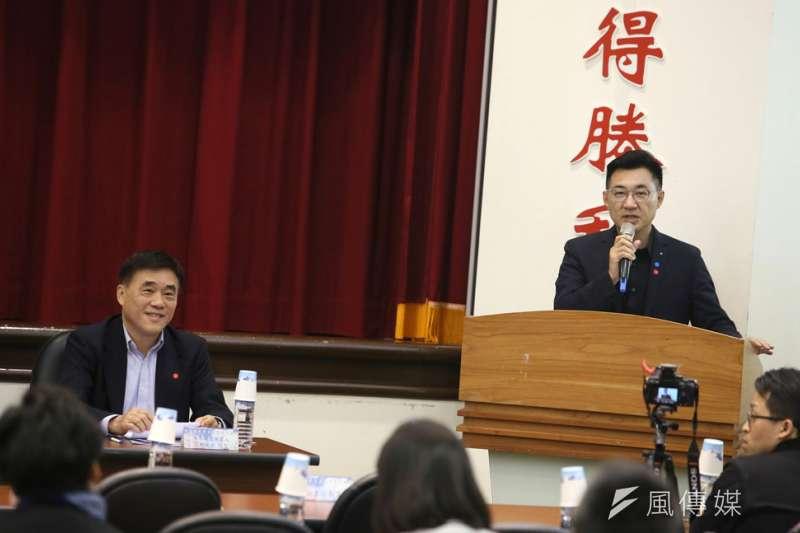 郝龍斌(左)和江啟臣(右)對黨主席延選態度不一。(柯承惠攝)