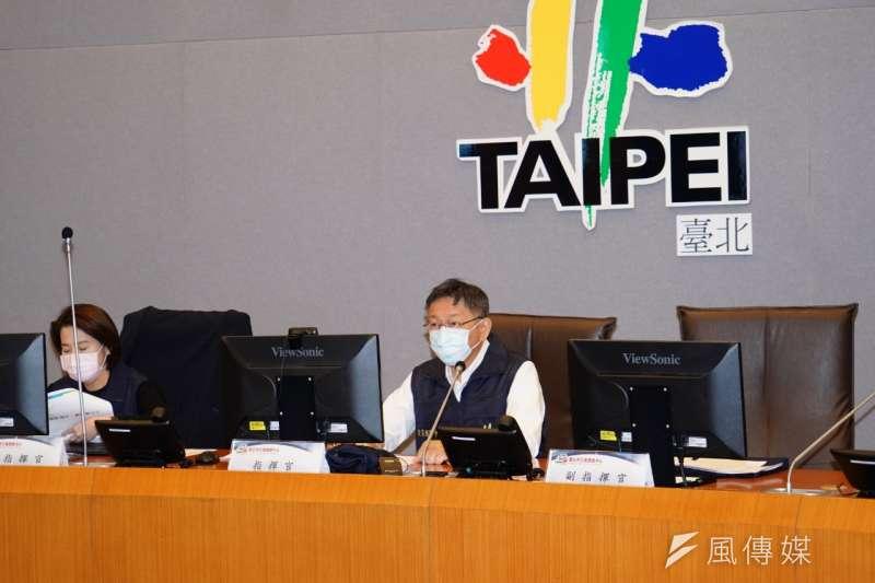 因應武漢肺炎,台北市疫災應變中心27日提升至一級開設,由市長柯文哲親自擔任指揮官。同時,台北市政府也宣布,自3月2日起,出入市政大樓需配合測量體溫。(方炳超攝)