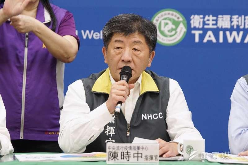 中央流行疫情指揮中心27日提升至一級開設,衛福部長陳時中續任指揮官。(盧逸峰攝)
