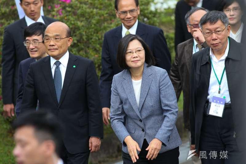 20200228-總統蔡英文、行政院長蘇貞昌、台北市長柯文哲28日出席「二二八事件73週年中樞紀念儀式」。(顏麟宇攝)