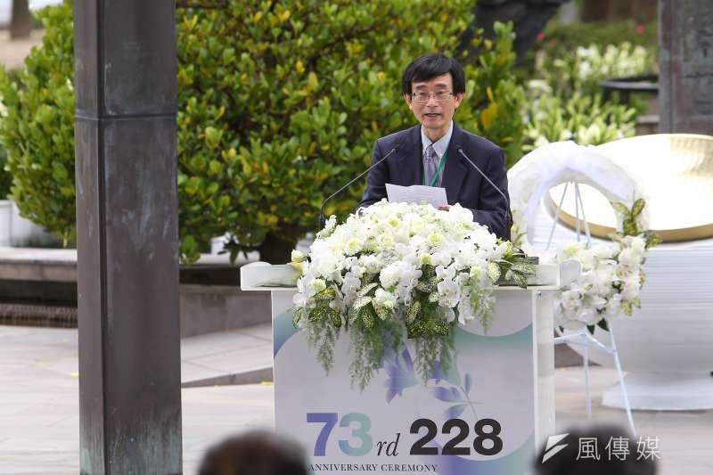 二二八事件紀念基金會董事長薛化元28日出席「二二八事件73周年中樞紀念儀式」。薛化元隨後在凱道共生音樂節致詞時表示,二二八事件不只是為了過去,亦是為了「我們共同的未來」。(顏麟宇攝)