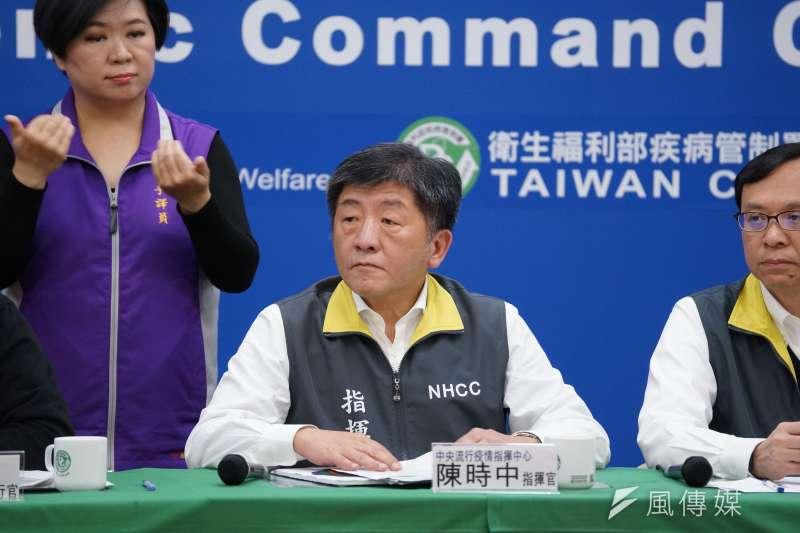 中央流行疫情指揮中心4日召開記者會,指揮官陳時中出席。(盧逸峰攝)