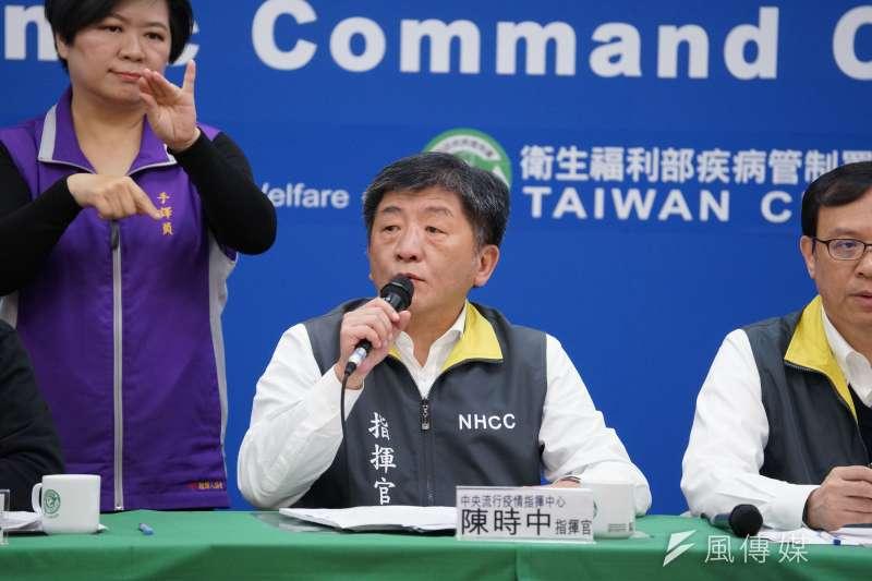 中央流行疫情指揮中心4日召開記者會,指揮官陳時中(見圖)宣布確診數維持42例。(盧逸峰攝)