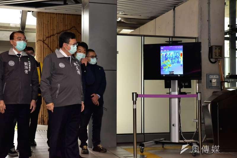 桃園機場捷運5日舉行放疫情境演練,桃園市長鄭文燦親往視察。(桃園捷運公司提供)