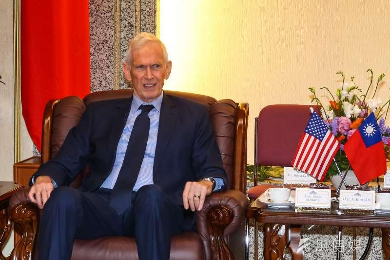20200305-美國在台協會AIT主席莫健5日會見立法院長游錫堃。(顏麟宇攝)