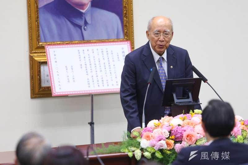 20200309-國民黨前主席吳伯雄9日出席「109年黨主席補選新任主席就職典禮」。(顏麟宇攝)