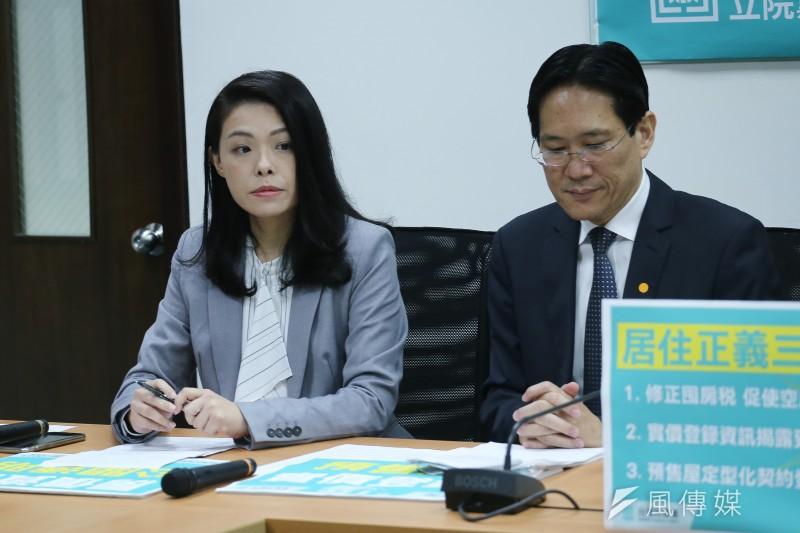 20200313-民眾黨黨團「居住正義三支箭 藍綠跟上別裝睡」 記者會,(由左至右)立委高虹安、張其祿。(陳品佑攝)